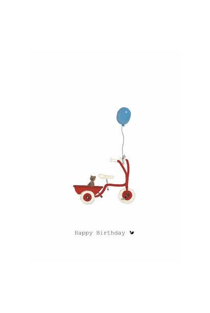 Nadine's illustraties wenskaart happy birthday fiets