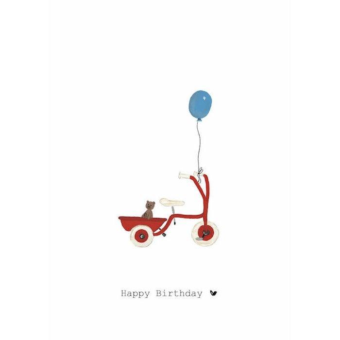 Nadine's illustraties wenskaart happy birthday fiets-1