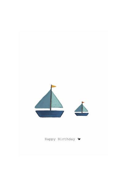 Nadine's illustraties wenskaart happy birthday bootjes