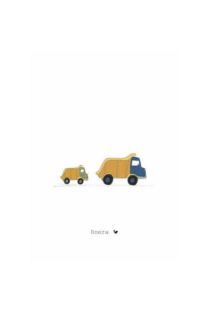 Nadine's illustraties wenskaart hoera vrachtauto