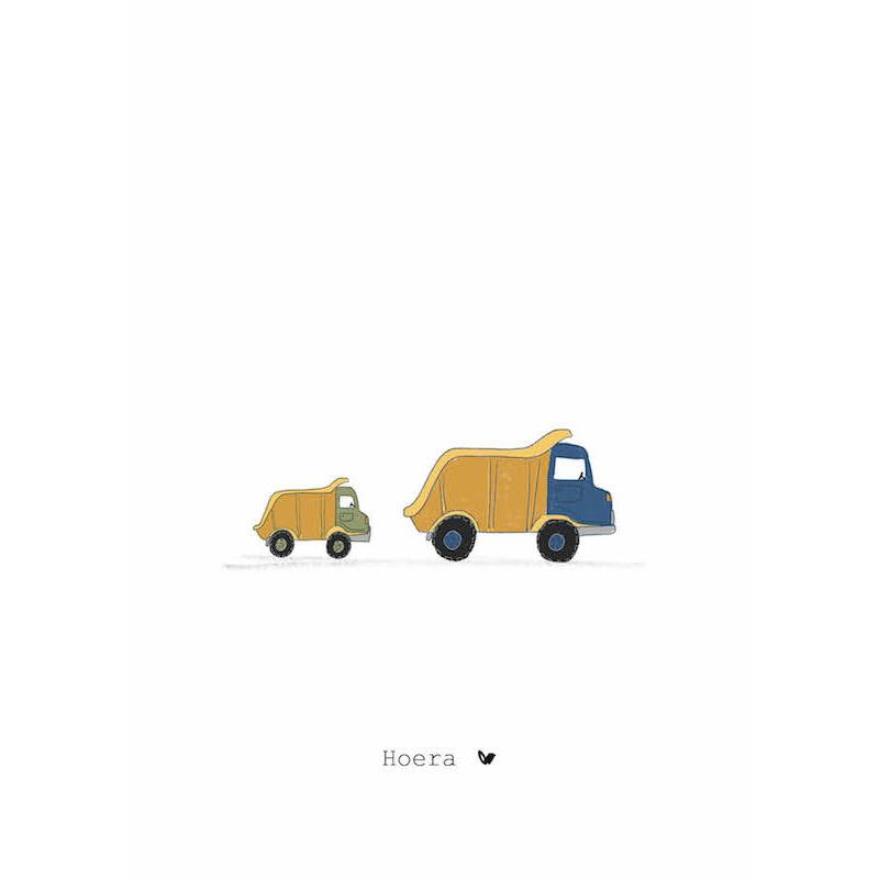 Nadine's illustraties wenskaart hoera vrachtauto-1