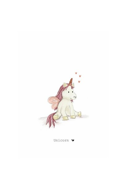 Nadine's illustraties wenskaart  unicorn roze