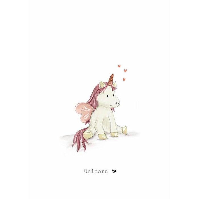 Nadine's illustraties wenskaart  unicorn roze-1