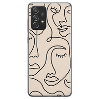 Leuke Telefoonhoesjes Samsung Galaxy A72 siliconen hoesje - Abstract gezicht lijnen