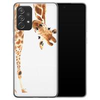 Leuke Telefoonhoesjes Samsung Galaxy A72 siliconen hoesje - Giraffe peekaboo