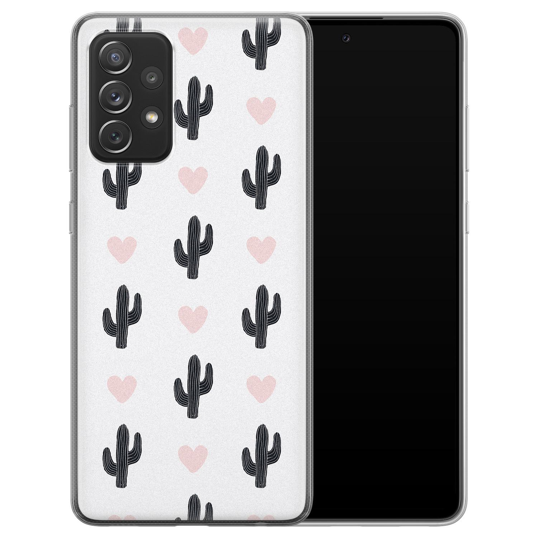 Leuke Telefoonhoesjes Samsung Galaxy A72 siliconen hoesje - Cactus love