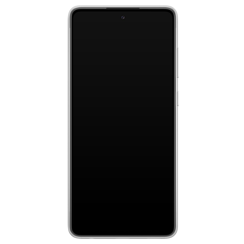 Leuke Telefoonhoesjes Samsung Galaxy A72 siliconen hoesje - Luipaard flower print