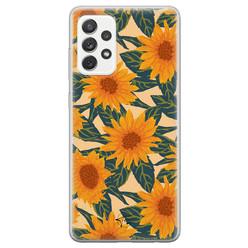 Telefoonhoesje Store Samsung Galaxy A72 siliconen hoesje - Zonnebloemen