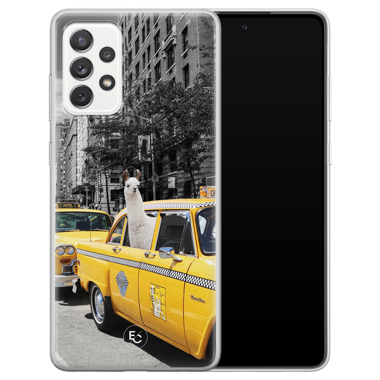 ELLECHIQ Samsung Galaxy A72 siliconen hoesje - Lama in taxi
