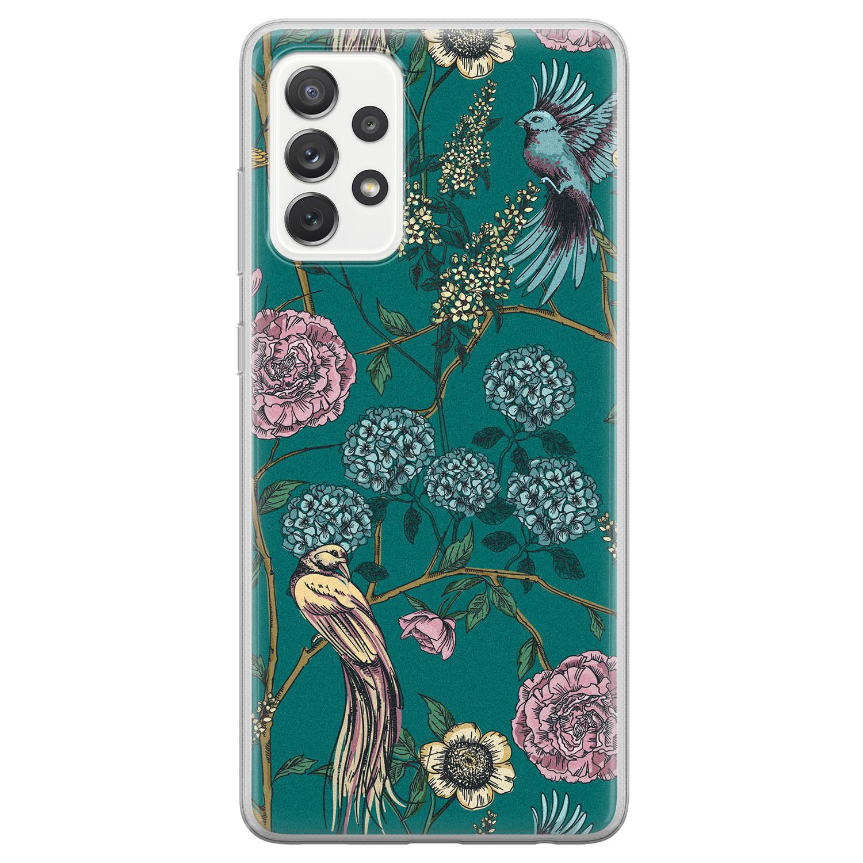 Telefoonhoesje Store Samsung Galaxy A72 siliconen hoesje - Bloomy birds