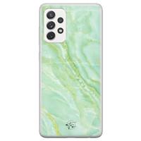Telefoonhoesje Store Samsung Galaxy A72 siliconen hoesje - Marmer Limegroen