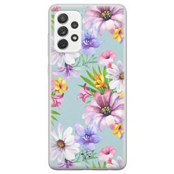 Telefoonhoesje Store Samsung Galaxy A72 siliconen hoesje - Mint bloemen