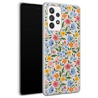Telefoonhoesje Store Samsung Galaxy A72 siliconen hoesje - Romantische bloemen