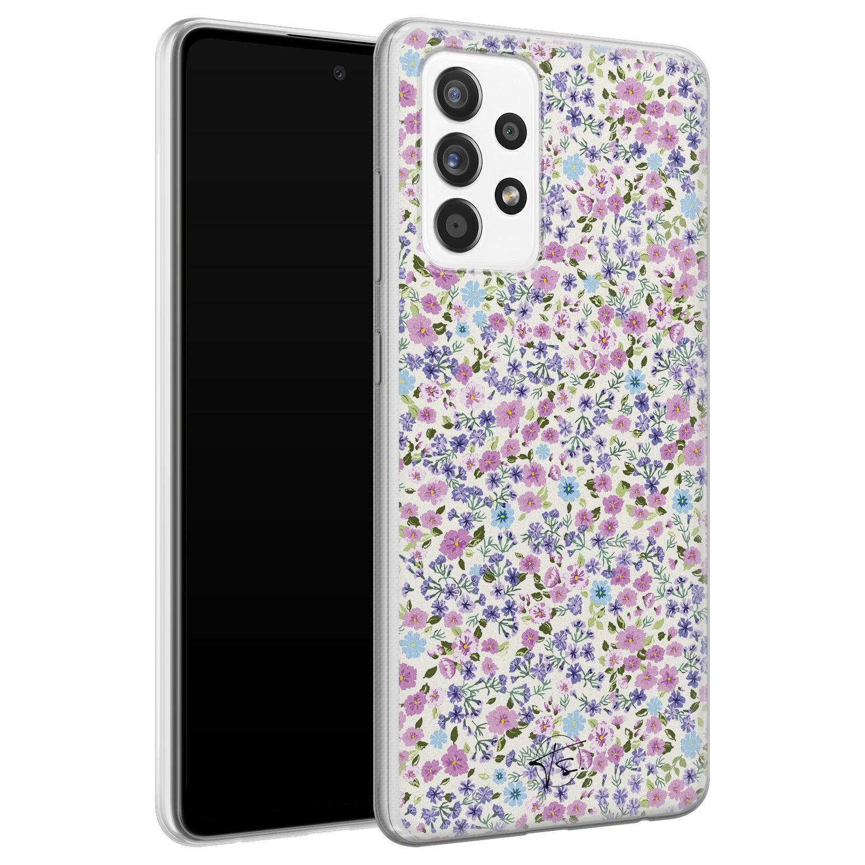 Telefoonhoesje Store Samsung Galaxy A72 siliconen hoesje - Purple Garden