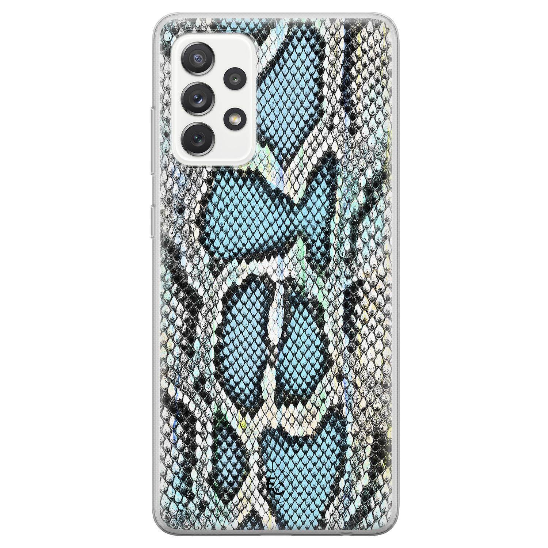 ELLECHIQ Samsung Galaxy A72 siliconen hoesje - Baby Snake blue