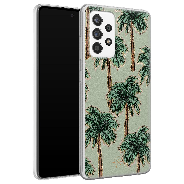Telefoonhoesje Store Samsung Galaxy A72 siliconen hoesje - Palmbomen
