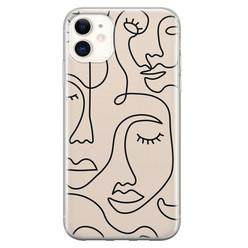 Leuke Telefoonhoesjes iPhone 11 siliconen hoesje - Abstract gezicht lijnen