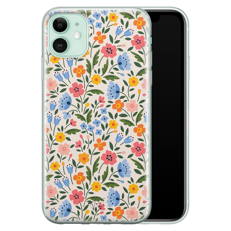 Telefoonhoesje Store iPhone 11 siliconen hoesje - Romantische bloemen