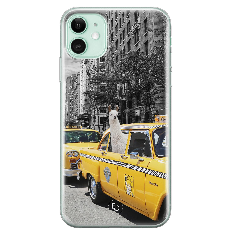 ELLECHIQ iPhone 11 siliconen hoesje - Lama in taxi