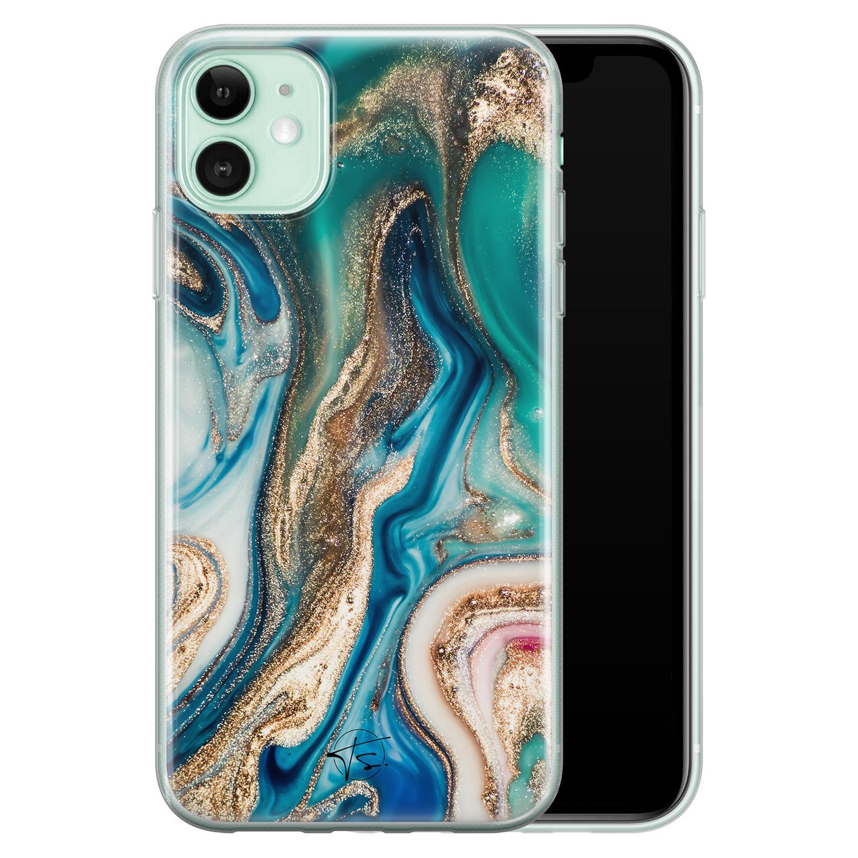 Telefoonhoesje Store iPhone 11 siliconen hoesje - Magic marble