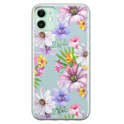 Telefoonhoesje Store iPhone 11 siliconen hoesje - Mint bloemen