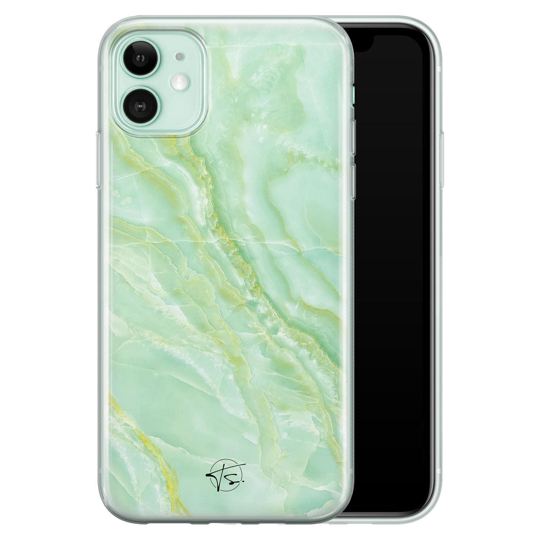 Telefoonhoesje Store iPhone 11 siliconen hoesje - Marmer Limegroen
