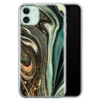 ELLECHIQ iPhone 11 siliconen hoesje - Marble Khaki Swirl