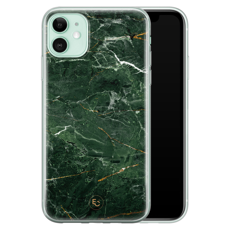 ELLECHIQ iPhone 11 siliconen hoesje - Marble jade green