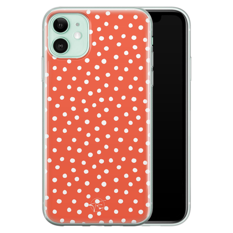 Telefoonhoesje Store iPhone 11 siliconen hoesje - Orange dots