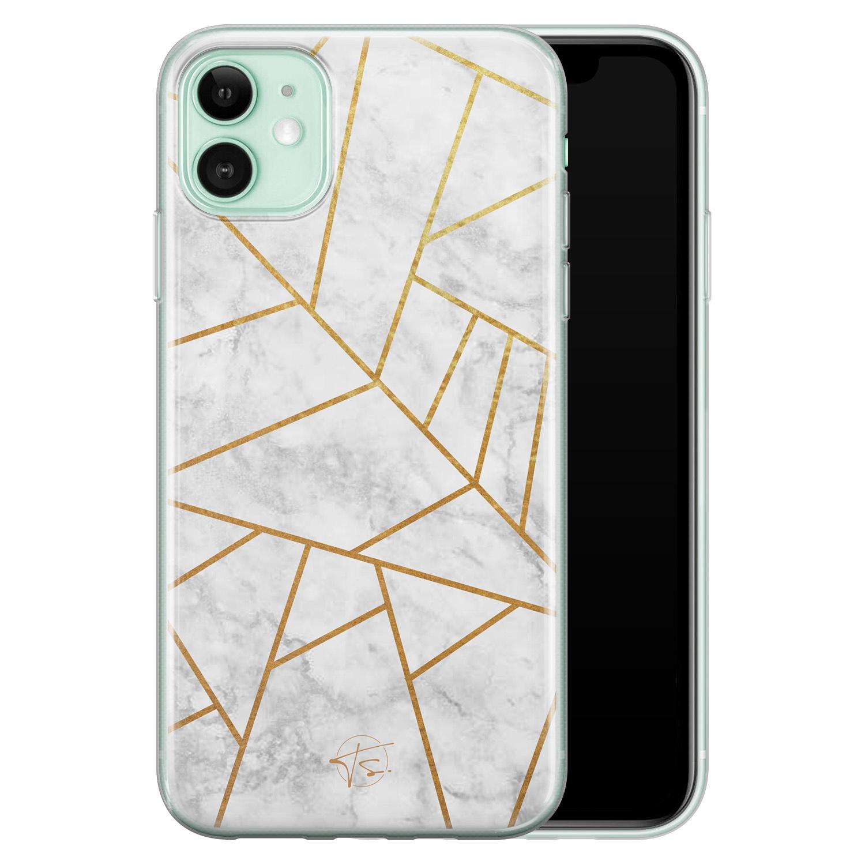 Telefoonhoesje Store iPhone 11 siliconen hoesje - Geometrisch marmer