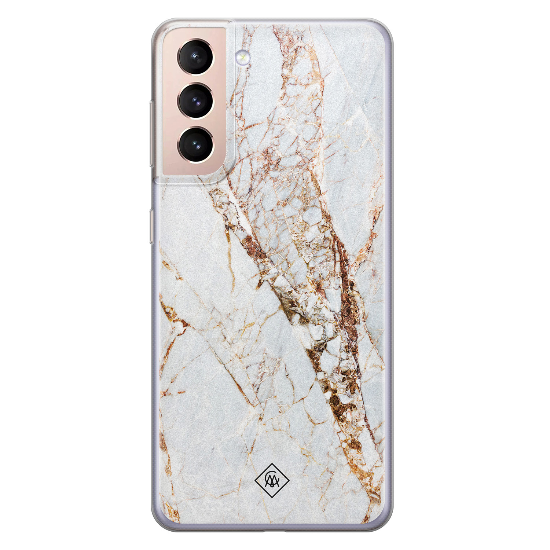 Casimoda Samsung Galaxy S21 siliconen hoesje - Marmer goud