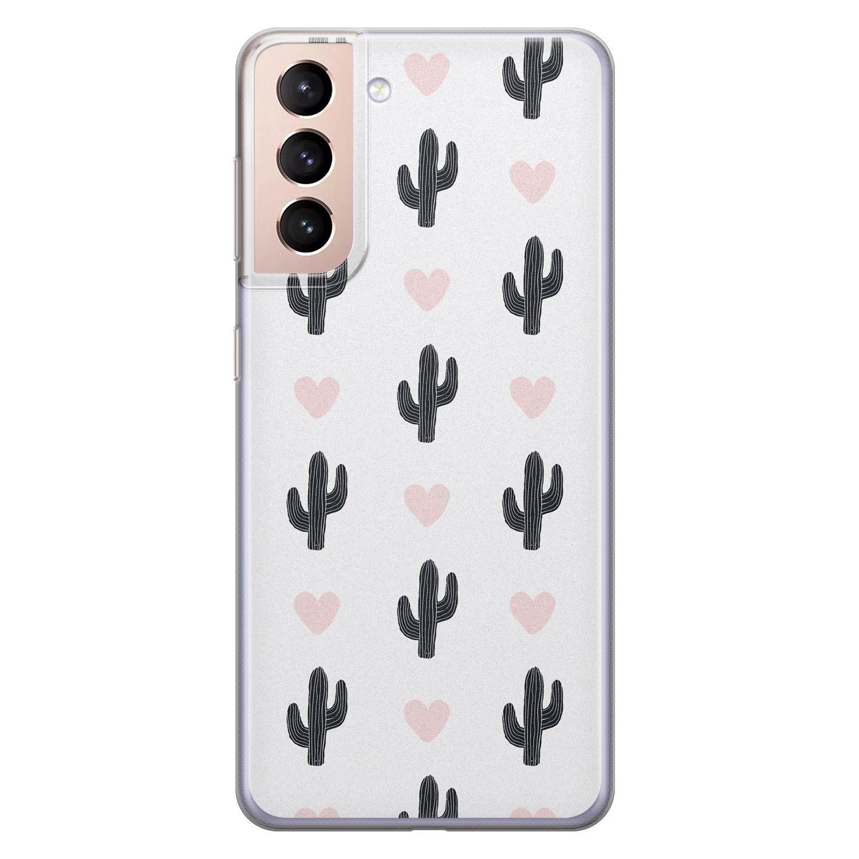Leuke Telefoonhoesjes Samsung Galaxy S21 siliconen hoesje - Cactus love