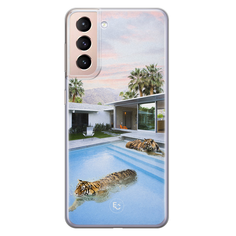 ELLECHIQ Samsung Galaxy S21 siliconen hoesje - Tiger pool