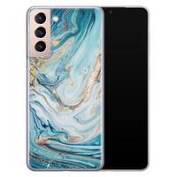 Telefoonhoesje Store Samsung Galaxy S21 siliconen hoesje - Marmer blauw goud
