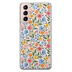 Telefoonhoesje Store Samsung Galaxy S21 siliconen hoesje - Romantische bloemen
