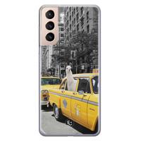 ELLECHIQ Samsung Galaxy S21 siliconen hoesje - Lama in taxi