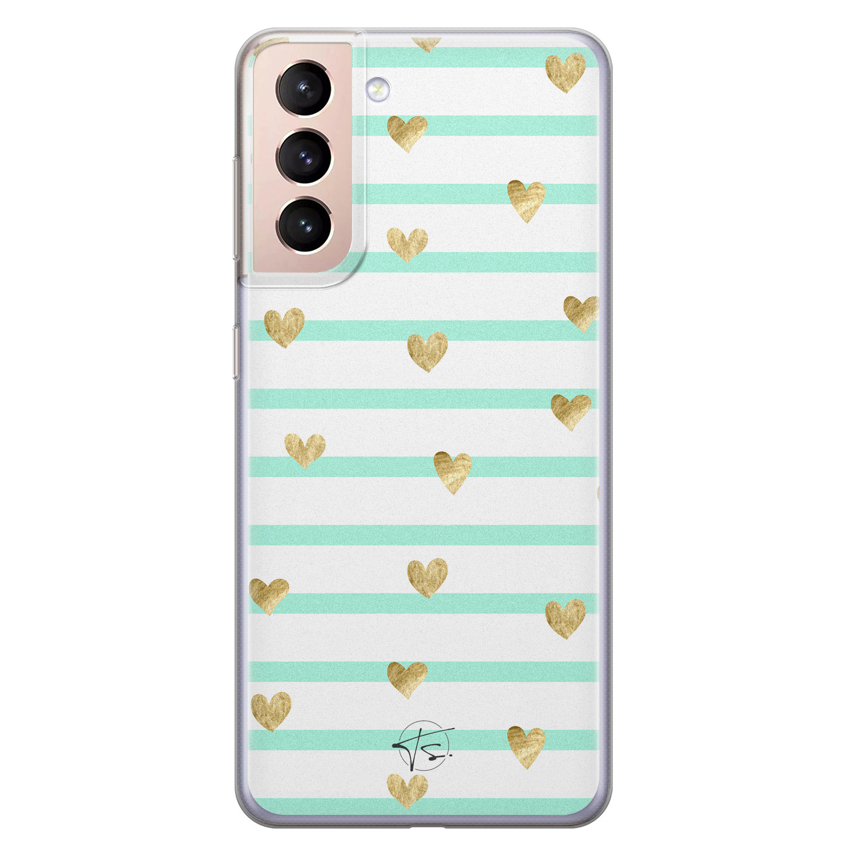 Telefoonhoesje Store Samsung Galaxy S21 siliconen hoesje - Mint hartjes