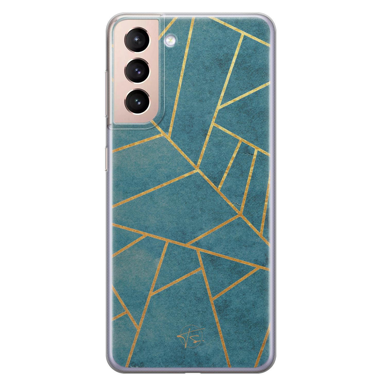 Telefoonhoesje Store Samsung Galaxy S21 siliconen hoesje - Abstract blauw