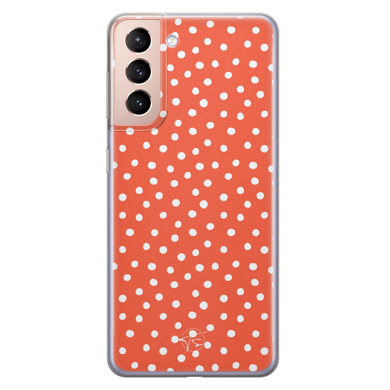 Telefoonhoesje Store Samsung Galaxy S21 siliconen hoesje - Orange dots