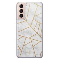 Telefoonhoesje Store Samsung Galaxy S21 siliconen hoesje - Geometrisch marmer