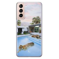 ELLECHIQ Samsung Galaxy S21 Plus siliconen hoesje - Tiger pool