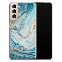 Telefoonhoesje Store Samsung Galaxy S21 Plus siliconen hoesje - Marmer blauw goud