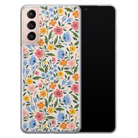 Telefoonhoesje Store Samsung Galaxy S21 Plus siliconen hoesje - Romantische bloemen