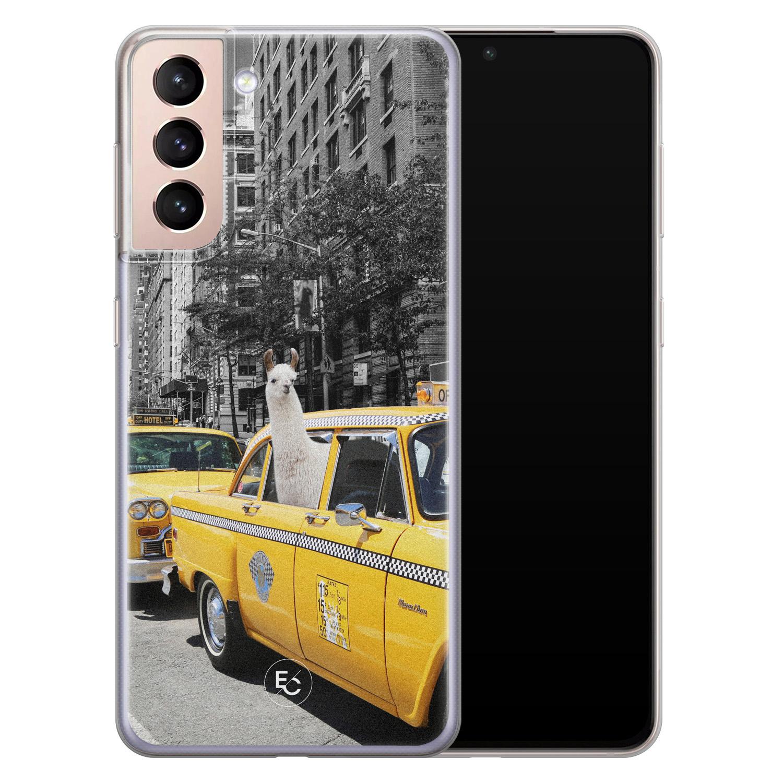 ELLECHIQ Samsung Galaxy S21 Plus siliconen hoesje - Lama in taxi