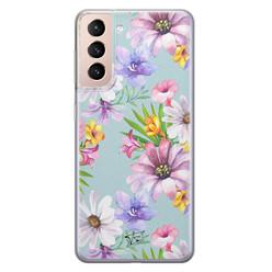 Telefoonhoesje Store Samsung Galaxy S21 Plus siliconen hoesje - Mint bloemen