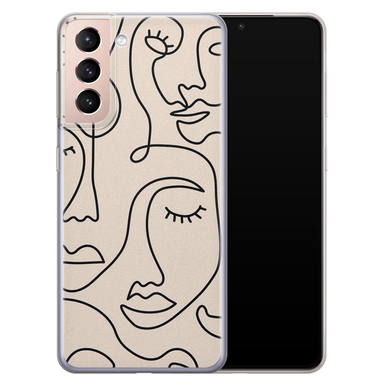 Leuke Telefoonhoesjes Samsung Galaxy S21 Plus siliconen hoesje - Abstract gezicht lijnen