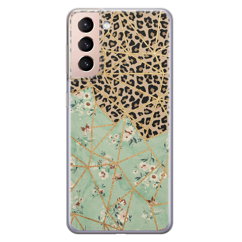Leuke Telefoonhoesjes Samsung Galaxy S21 Plus siliconen hoesje - Luipaard flower print