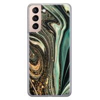 ELLECHIQ Samsung Galaxy S21 Plus siliconen hoesje - Marble Khaki Swirl