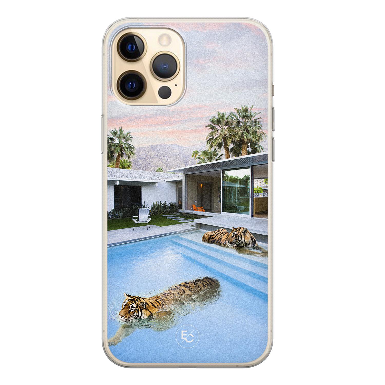 ELLECHIQ iPhone 12 siliconen hoesje - Tiger pool