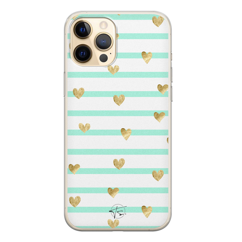 Telefoonhoesje Store iPhone 12 siliconen hoesje - Mint hartjes